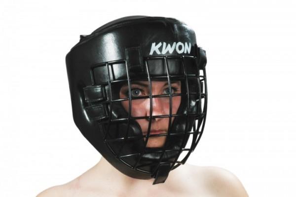 Kopfschutz mit Eisengitter schwarz