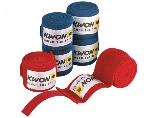 Boxbandagen unelastisch 4,5m, blau, schwarz, rot von: Kwon