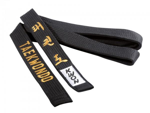 Taekwondo Gürtel schwarz, 4 cm mit Bestickung