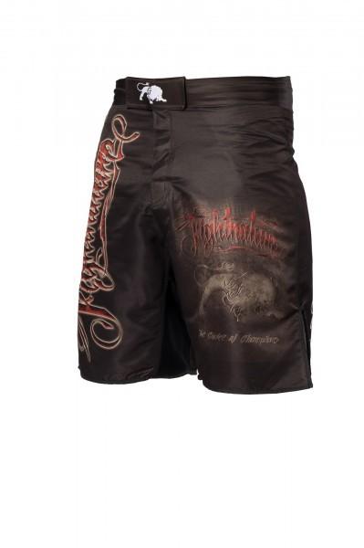 Fightnature Shorts schwarz, roter Schriftzug von: Fightnature